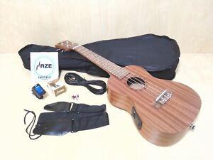 Concert Ukulele Haze HA-U23CEQ All Mahogany,Satin Finish+Free Bag,Strings,Tuner
