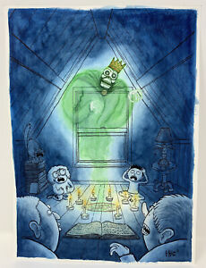 BENIGN-KINGDOM-PHIL-MCANDREW-ORIGINAL-COVER-ART-SEANCE-DEVIL-OUIJA-WATERCOLOR