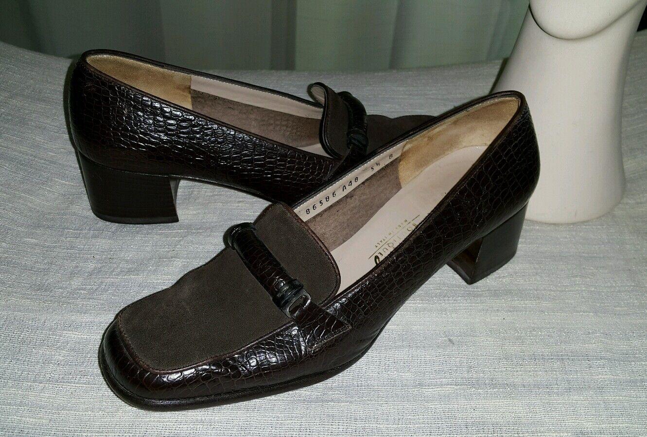 Salvatore Loafers Ferragamo Braun Schuhes Heels Loafers Salvatore  Damens Größe 5.5B 095263