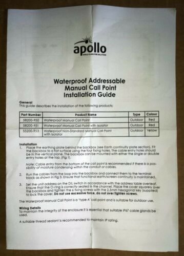 Apollo Discovery Weatherproof adressable Manual call point 58200-951 apolloxp 95