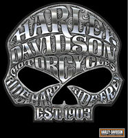 Xl Harley Davidson Motorcycle Willie Skull Chrome Decal - Made In The Usa
