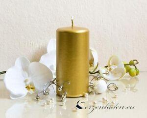 Stumpenkerze Gold 12cm Kerzen Hochzeit Tischdeko Jubilaen Dekoidee
