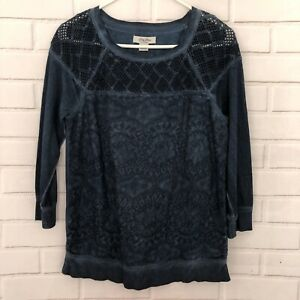 Lucky-Brand-Lucky-Bliss-Blue-Crochet-Lace-Sweatshirt-Top-Size-Small