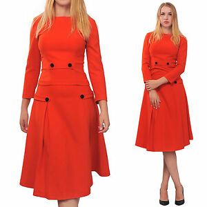 ce25e0c0f7a9 Details about RED WOMENS CLASSIC BUSINESS CHURCH WORK VINTAGE ALINE MIDI  SKIRT SUIT DRESS
