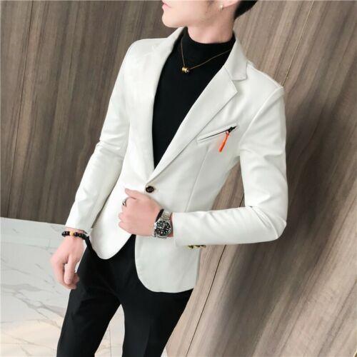 Men Leather Jacket Formal Casual Blazer Wedding Dress Outwear Slim Business Coat