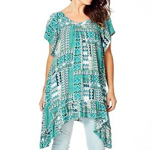 Flowing-Round-Neck-Ladies-Boho-Chic-Style-Flutter-Sleeve-Tunic-Size-16-FREE-POST