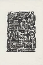 Ex-libris Mariano AMITRANO gravé par Gian-Luigi UBOLDI (1915-2005) - Italie.