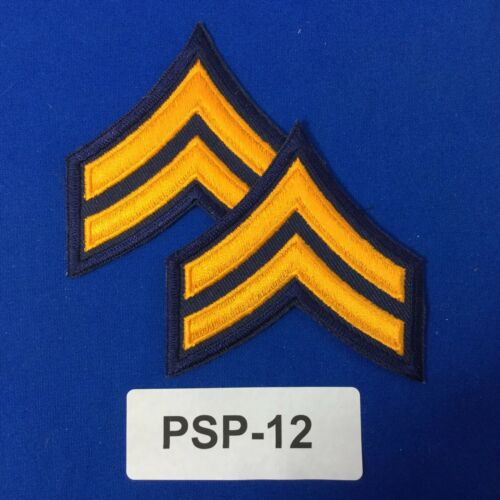 Police Corporal Chevron Embroidered Shoulder Patches Dk Navy//Gold PSP-12