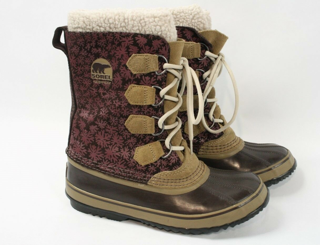 SOREL 1964 Graphic Red Rocks Purple Leather Winter Waterproof Snow Boots Women 8