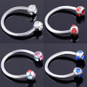Crystal-Surgical-Steel-Piercing-Horseshoe-Lip-Bar-Stud-Nose-Ear-Nipple-Hoop-EB