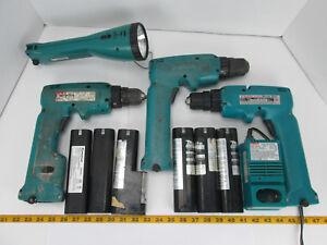 Lot of Portable Power Tools Makita Drill Drivers Flashlight Charger Batteries CS