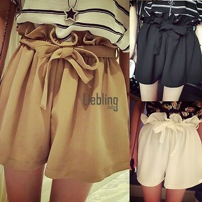 High Waist Loose Mini Shorts Women Elastic Pants Fashion One size Brand New LEBB