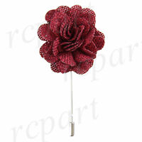 In Box Formal Men's Suit Chest Brooch Burgundy Fabric Flower Lapel Pin