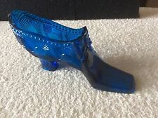 A Rare Victorian Sowerby No.1921 Cobalt Blue Pressed Glass ' Sunburst ' Shoe