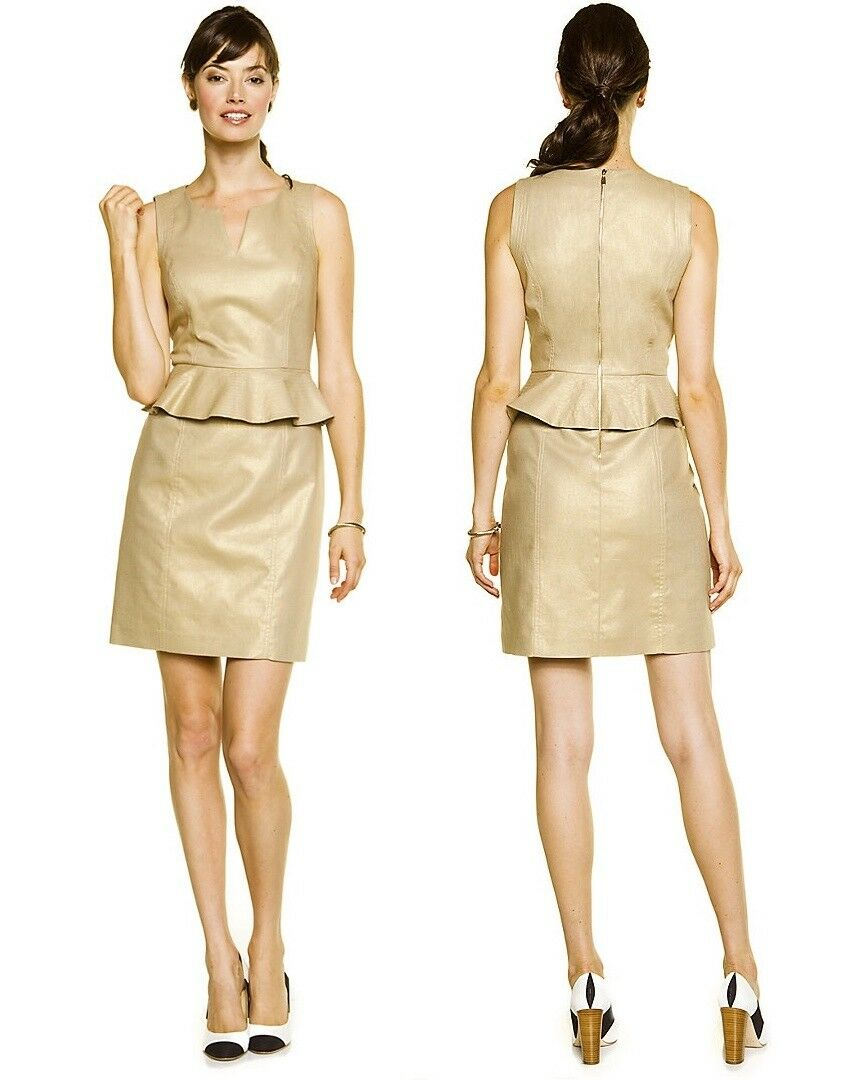 265 Laundry Shelli Segal Peplum Metallic Latte Gold Foil Linen Dress 12