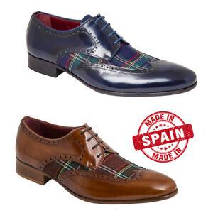 7152cbb2f78 Zapatos Ingleses Cuadros Textil de Piel Azul Cuero Talla 39 40 41 42 ...