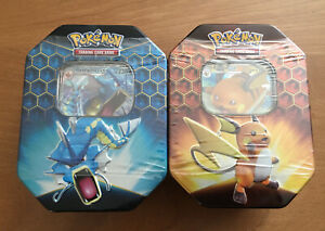 Lot of 2 Unopened Pokemon Hidden Fates GX Tins - Gyarados / Raichu