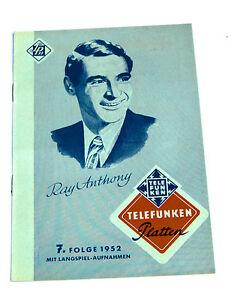 k115 Diversifizierte Neueste Designs Telefunken Musikplatten Katalog Tanz Und Unterhaltung 7.folge 1952