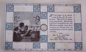1940'S UNUSED INK BLOTTER-DR NUTTER OPTOMETRIST-TERRE HAUTE IND-BAUSCH LOMB-LENS