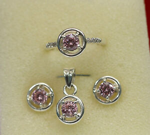 jem-50ct-PINK-ZIRCON-BIRTHSTONE-EARRINGS-RING-PENDANT-JEWELRY-SET-n-Fine-Silver