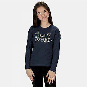 Regatta Kids/' Wenbie Coolweave Printed Long Sleeve T-Shirt Blue Navy