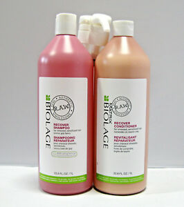 Biolage-RAW-Recover-Shampoo-amp-Conditioner-33-8-oz-Liter-Set-Duo-PUMPS-Matrix