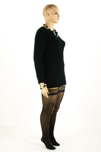 Supporto senza calze Sade il 40-NERO-sensuale con punta dorata