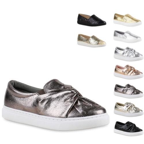Damen Sneakers Slipper Slip-ons Metallic Kroko Gold Silber 78353 Trendy Neu