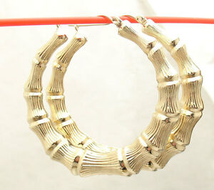 2 50mm Large Graduated Bamboo Hoop Earrings Real 10k Yellow Gold