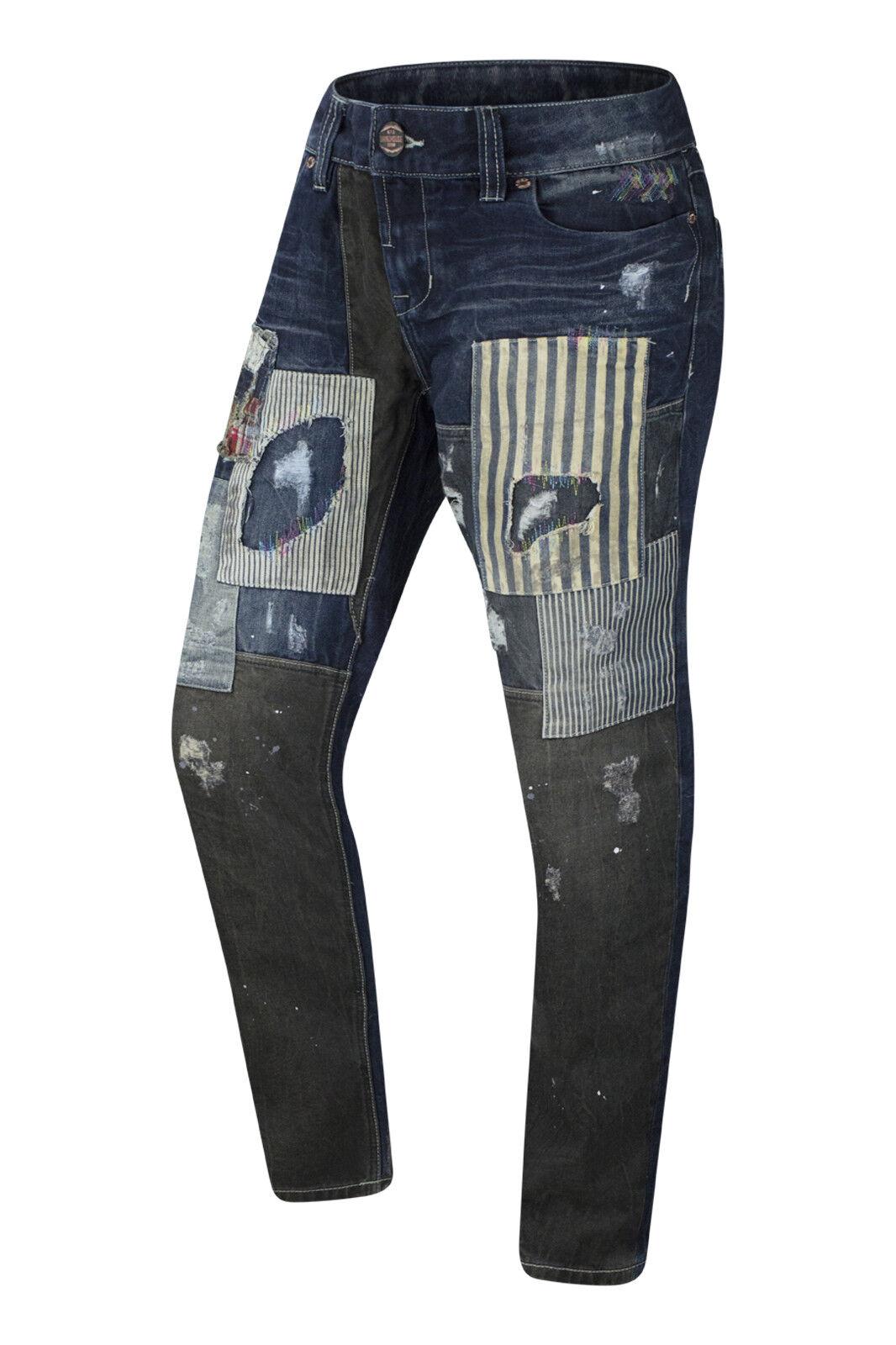 Hommes Ripped Denim peinture éclaboussé jeans marron coutures Patched Jean Pantalon
