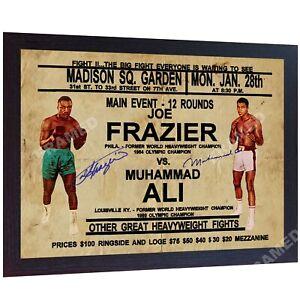 Muhammad-Ali-Joe-Frazier-photo-signed-autographed-Framed-Poster-Vintage-Printed