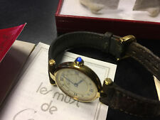 VINTAGE MUST DE CARTIER 18K GOLD VERMEIL SILVER 925 WOMENS WATCH BOX AND PAPERS