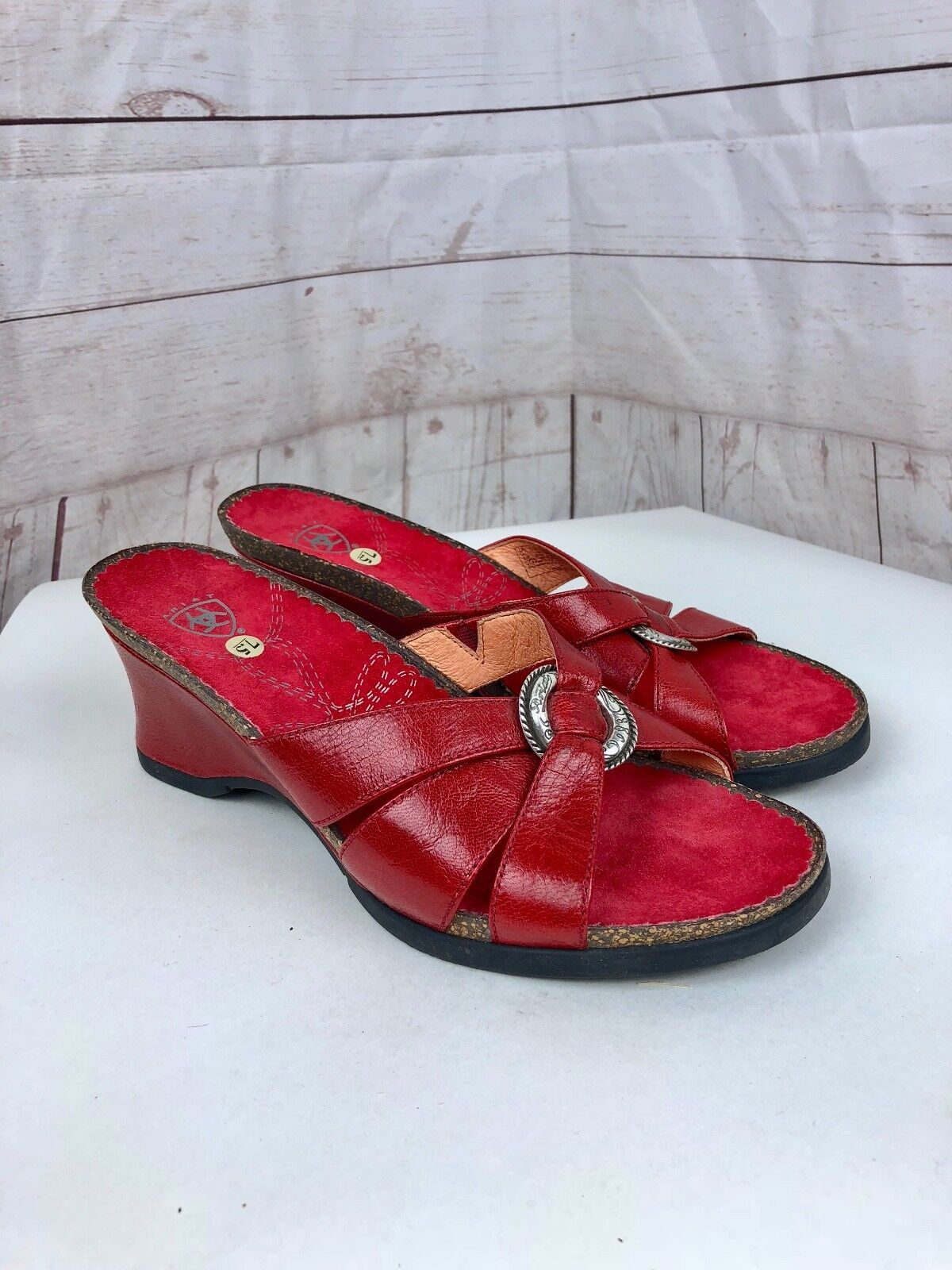 Ariat Women's Red Leather Strap Peep Toe Cork Wedge Sandal Size 7.5