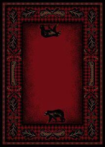 5x8 Lodge Cabin Area Rug Mountain Plaid Red Black Rustic Bear Canoe Paw Oar Fish Ebay