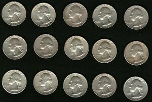 Lot-of-15-Silver-Coins-US-George-Washington-Silver-Quarters-Year-1964
