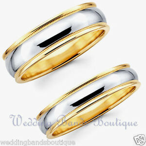 14k White Yellow 2 Tone Gold His Hers Matching Wedding Bands Set Men