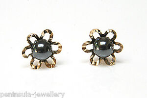9ct-Gold-Hematite-Flower-Studs-earrings-Made-in-UK-Gift-Boxed