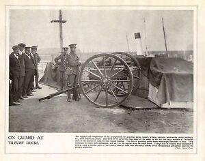 1914 Imprimé Première Guerre Mondiale ~ Soldats sur Garde à Tilbury Quais Avec rfswSR5j-09162620-937387673
