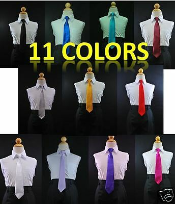 Boys Satin Clip on Long Neck Tie Yellow matching Boy suit 8 10 12 14 11 Colors