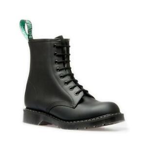 Détails sur Solovair Nps Chaussures Fabriqué en Angleterre 8 Œil Noir Greasy Bateau