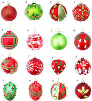 SELECTION GISELA GRAHAM RED GREEN BALL EGG BAUBLE CHRISTMAS TREE  DECORATION