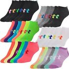 Sale 6 Pair Womens Under Armour No Show Socks Black Pink White Tennis Run Golf