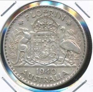 Australia-1940-Florin-2-George-VI-Silver-Extra-Fine