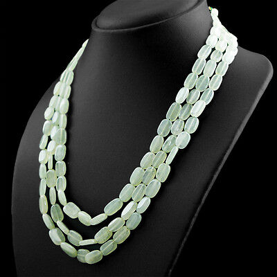 RARE 575.00 CTS NATURAL 5 LINE RICH GREEN AQUAMARINE OVAL SHAPED BEADS NECKLACE