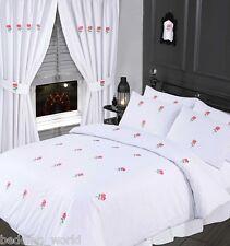 KING SIZE BED BLUSH PINK DUVET COVER SET EMBROIDERED FLORAL ROSE GREEN WHITE