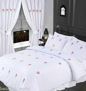 DOUBLE BED SIZE BLUSH PINK DUVET COVER SET EMBROIDERED FLORAL ROSE ...
