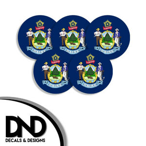 Maine-State-Flag-ME-Circle-Sticker-USA-Helmet-Decal-5-Pack-2-5in