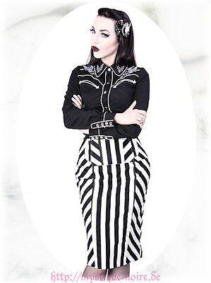 Rockabilly Pin Up Rock schwarz/weiß Streifen Rüsche Gothic Burlesque Lolita