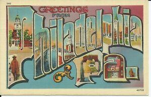 Greetings-From-Philadelphia-Large-Letter-Linen-Postcard