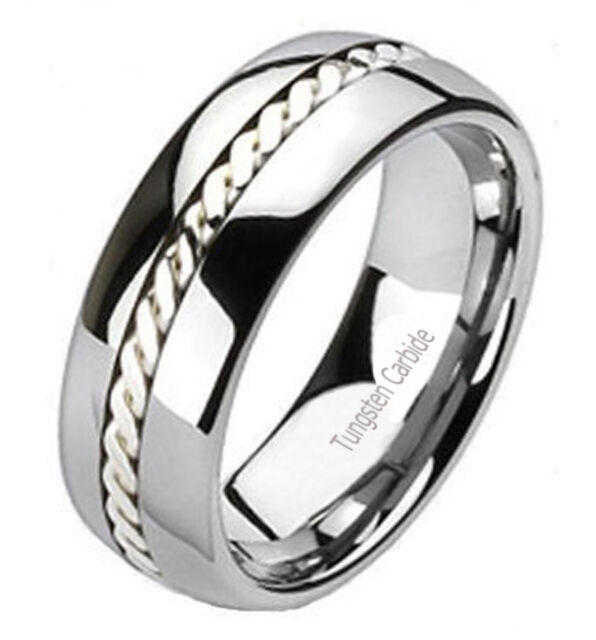 Tungsten Carbide Ring Sterling Silver Rope Inlay Band  -  Size 7.5 to 14.5